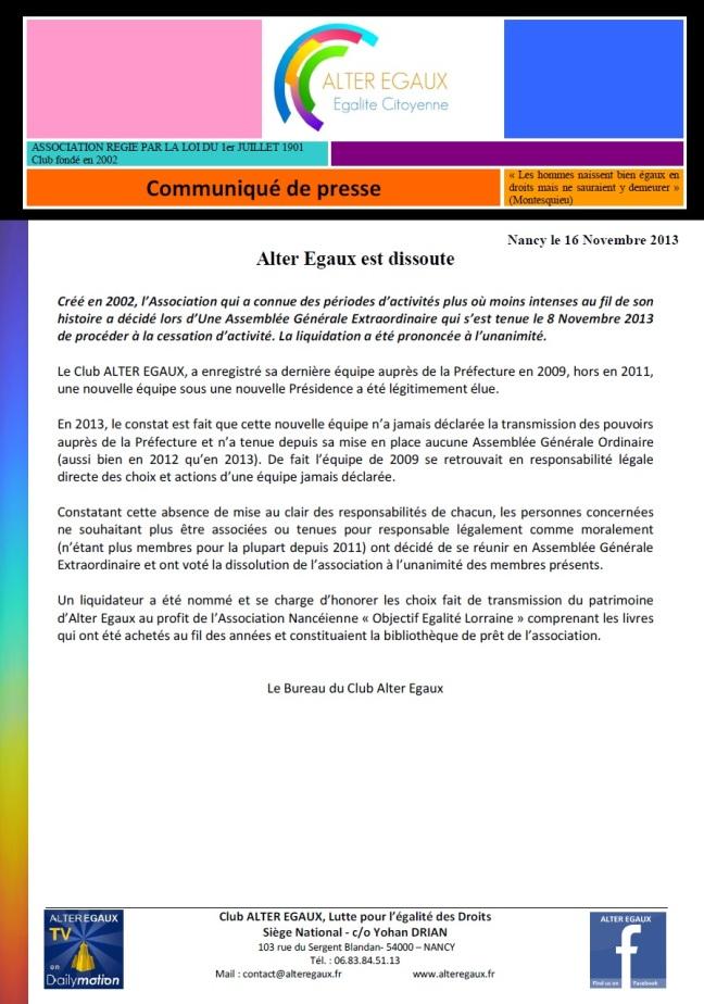 8) Alter Egaux est dissoute 16.12.2013