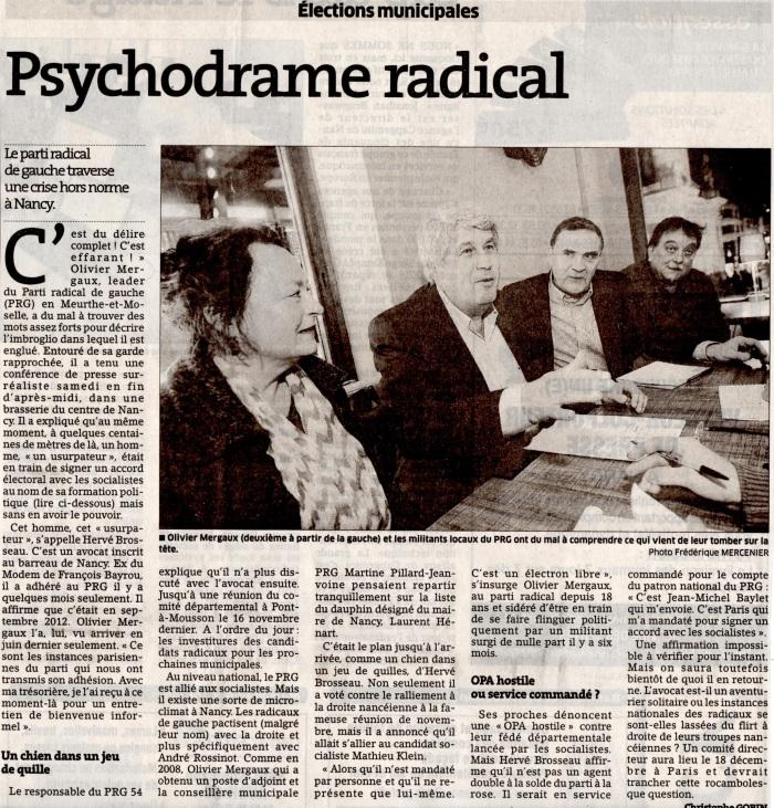 Psychodrame au PRG - E.R. 16.12.2013
