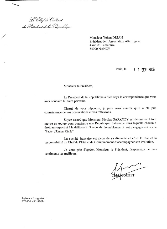 Courrier Sarkozy