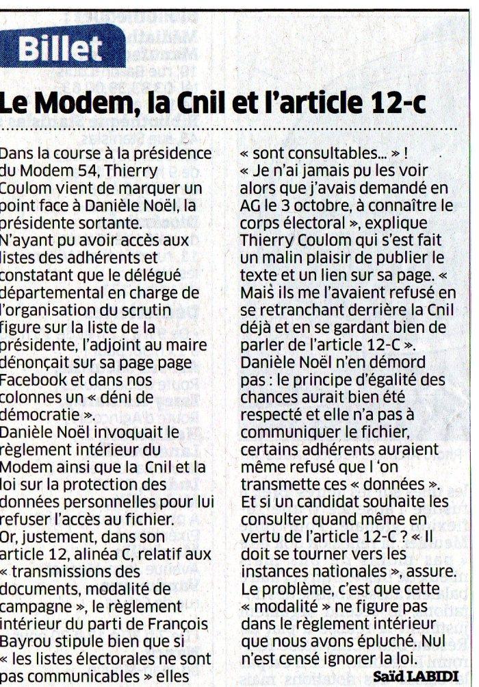 Le Modem, la CNIL et l'article 12c - 15.11.2014