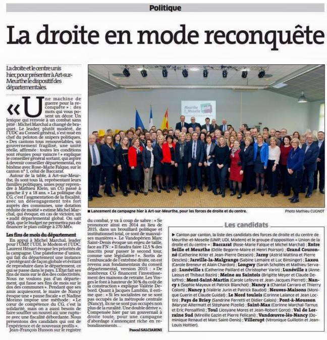 La droite en mode reconquête Est Républicain 25.01.2015