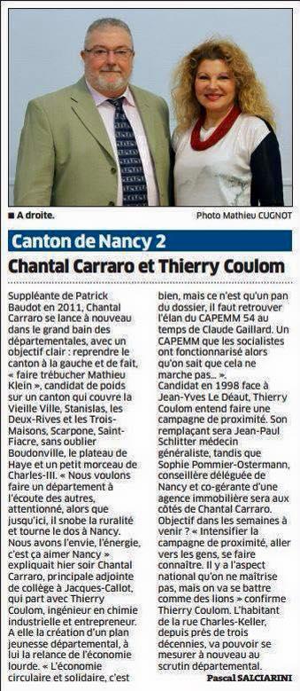 Chantal Carraro et Thierry Coulom - Est Républicain 24.02.2015