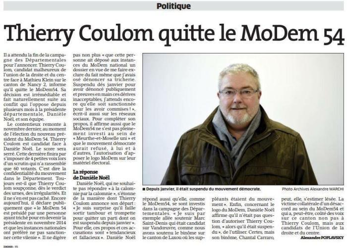 Thierry Coulom quitte le Modem - Est Républicain - 01.04.2015